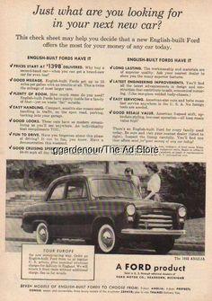 1955 English/British Built Ford Anglia Vintage 50s UK Car/Auto Photo Ad