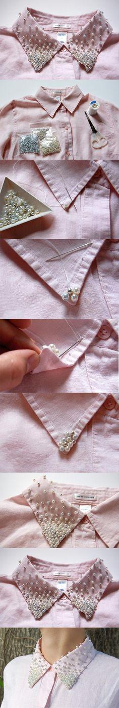 Bordado en cuello de camisa con perlas #Tendencia #DIY