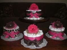 Leopard or Cheetah Diaper Cake Baby Shower Centerpieces hot pink other colors and sizes available too. $12.00, via Etsy.