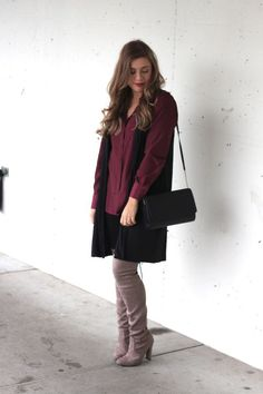 jewel tone look with over the knee boots - Northwest Blonde