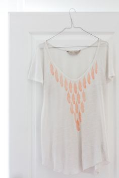 DIY stamped feather on a tee shirt