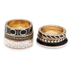 Forever 21 Tribal-Inspired Ring Set ($5.90)  liked on Polyvore featuring jewelry rings tribal jewellery band jewelry boho chic jewelry bohemian rings and boho jewelry