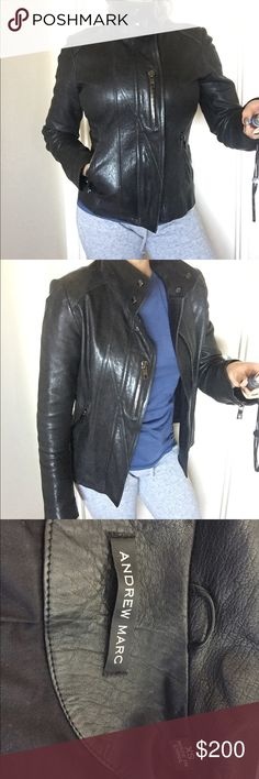 Gorgeous ANDREW MARC genuine leather jacket XS Gorgeous ANDREW MARC genuine leather fitted jacket. Size XS. But will fit a small as well. Very nicely made with many beautiful details. Amazing quality leather. I received so many compliments when I wore this and you will too. In excellent condition. Shows no signs of wear. Worn only a handful of times. Color is bluish black. Andrew Marc Jackets & Coats