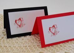 Loving Heart Place Cards Escort Cards Wedding by HDPaperBoutique