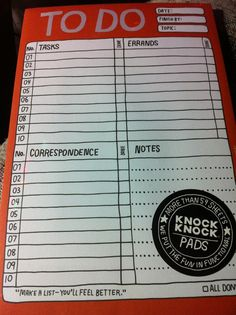 Knock Knock pads. Greatest organizational tool ever. Adorable, fun, and functional. I swear there is a knock knock pad for everything. To do list, grocery lists, making a decision, favorite beers. I LOVE these things.