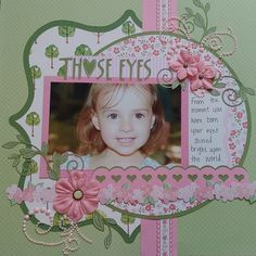 Her eyes were wide open when we left the hospital and no matter where we go people comment on her eyes. You'd never guess her parents eyes are blue. Scrapbook Box, Baby Girl Scrapbook, Baby Scrapbook Pages, Birthday Scrapbook, Scrapbook Page Layouts, Scrapbook Paper Crafts, Scrapbook Designs, Scrapbooking Ideas, Paper Crafting