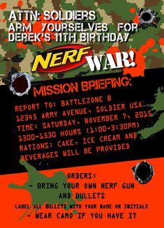 Nerf War Birthday Party Invitation Idea BIRTHDAY PARTY Pinterest - Party invitation template: nerf war party invitation template
