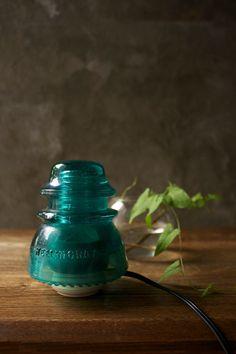 Teal Vintage Glass Telegraph Insulator Lamp
