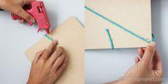 DIY clipboard organizador de pared. Pegando las cuerdas