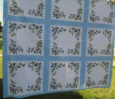 Vintage Cotton Printed Tablecloth  Blueberry  Blue by AStringorTwo, $26.00