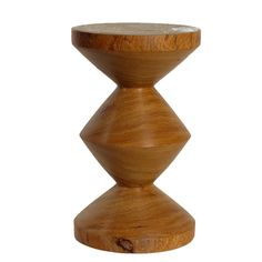 Modern wood hourglass stool. Shop Land & Garden: adding style to your home, gardens and outdoor living.