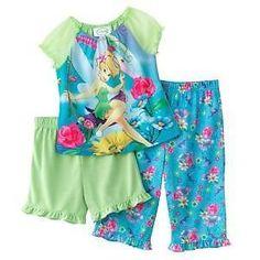 Disney Tinkerbell Long Pyjamas Girls Fairy 2 Piece Pjs Set Kids Nightwear Size
