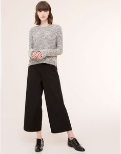Pull&Bear - woman - trousers  - culottes with front seam - black - 09682358-I2015
