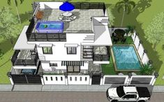 2 Storey w/ Roofdeck & Pool - House Designer and Builder 3 Storey House, 2 Storey House Design, Simple House Design, Quezon City, House 2, Pool Houses, Philippines, Beach House, House Ideas