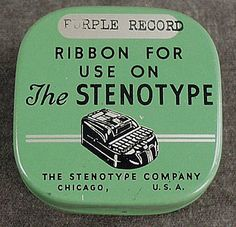 Vintage Stenotype Ribbon Advertising Tin with Nice Graphics