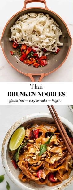 These Thai Drunken Noodles are delicious, easy to make, and come together in less than 30 minutes! These noodles are vegetarian and perfect when you need a quick and easy dinner. #vegan #glutenfree #thaidishes #drunkennoodles #30minutemeals Vegan Recipes Easy Healthy, Dinner Recipes Easy Quick, Vegetarian Recipes, Easy Meals, Thai Dishes, Vegan Dishes, Thai Drunken Noodles, Chia Recipe