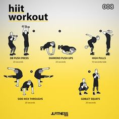 HIIT Workout   Workout Instructions:   Perform 20 seconds of each exercise. Don't worry about how many reps, only on the quality… All Body Workout, Hitt Workout, Dumbbell Workout, Workout Fitness, Kettlebell Training, Weight Training Workouts, Gym Workouts, Tabata, Preparation Physique