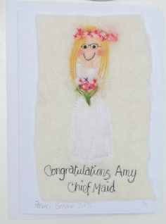 personalised cards for bridesmaids by red cat handmade