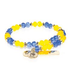 Gold, Blue & Yellow Crystal Bangle - Blue & Yellow glass crystal with gold finished Laurelian stainless steel bar. Engraving options available. See more at: http://www.josephnogucci.com/products/gold-blue-yellow-crystal-bangle-bracelet