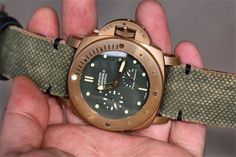Green Canvas Strap + Minimal Black Stitching for Luminor Submersible Bronzo Panerai Watches, Men's Watches, Cool Watches, Watches For Men, Panerai Watch Straps, Panerai Luminor Submersible, Bracelet Cuir, Fashion Watches, Wood Watch