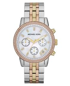 Michael Kors Watch, Women's Chronograph Ritz Tri-Tone Stainless Steel Bracelet 36mm MK5650 - All Watches - Jewelry & Watches - Macy's