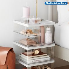 Create a personal organizer that can double as a bedside nightstand, chair-side accent table or entryway drop zone. This starter kit lets you do it, with stackable, mixable, modular storage that combines convenient dimensions and impressive capacity. Three sizes of Open-Front Bins can hold books, wallets, slippers, handbags, boots and more.