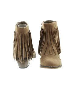 """Fringe, fringe, and more fringe. Give us all the fringe! These ankle boots let you take the fringe trend to your feet, in the best way possible. They feature long faux suede fringe and the slightest of a heel to give your legs a long, lean look.Details: Faux suede ankle boot with fringe detailing. Heel: 1-1/2"""". High quality man made materials.Fit: True to size.Colors: BeigeRustGrayOliveTealTanWine"""