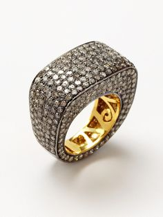 Rounded Square Pave Diamond Ring by Blake Scott