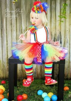 Clown or rainbow costume@amyinthehouse  deconstruct current tutus and put em together!  Find some old leggins and ribbons!  =cutest rainbow girl ever!