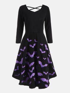 Cross Back Bat Print Fit and Flare Dress - BLACK S