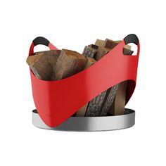 CARRY RED.  Der RAIS CARRY besteht aus einem Stück Aluminium - ohne Fugen. Er sieht stets leicht und elegant aus, gerade mit seinen geschwungenen Kurven. Der Korb verfügt über komfortable Griffe mit beschichtetem Silikon, so lässt er sich leicht und ergonomisch transportieren. Die praktische hohe Kante am festen Boden lässt dabei die Rückstände vom Brennholz im Korb zurück. Sehr leicht mit nur 2.5 kg.  B x T x H: 450 x 450 x 450 mm