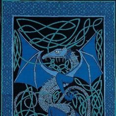 Handmade 100% Cotton Celtic Dragon Tapestry Tablecloth Coverlet Full 88x106 Blue