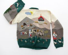 Vintage Sweater // Folk Embroidered Cardigan Sweater // size