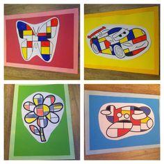 Thema kunst: Mondriaan kleurplaat met lijstje, goed meten! Inkleuren met zwart, geel, rood, blauw en wit.