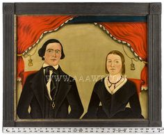 Portrait, American School, Man and Woman Oil on canvas, circa 1840 Folk Art, Unsigned    The lady wearing a beaded jet necklace and gold pin ...