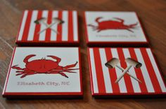 CUSTOMIZABLE Nautical/Crab Coasters by CarovaCreations on Etsy, $16.00