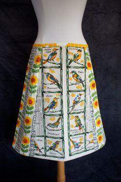 Aline skirt, upcycle, vintage calender/tea towel