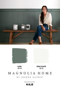 """This entryway has a warm and inviting feel to it, and I love how the stark white contrasted with the deep green gives it a bold, yet timeless look."" –Joanna Gaines. Learn more about this project on our blog. Paint Colors For Home, House Colors, House Paint Exterior, Magnolia Homes, Mobile Home, Basement Remodeling, House Painting, Home Renovation, My Dream Home"
