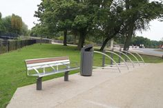 Connswater Greenway - seats and litter bin