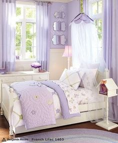 Custom bedding and sweet soft lilac sheers.  #sheers #bedding