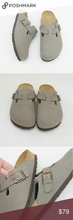 Birkenstock Boston Nubuck Clog Stone Grey Leather Birkenstock Boston clog Nubuck leather Stone color (a grey / tan)  Size 36  They're in great super lightly worn condition. I only wore them around the house a few times and to run out to the mailbox. Super clean! Smoke and pet free. Birkenstock Shoes Mules & Clogs