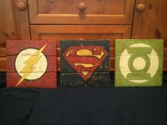 Awesome for a superhero themed bedroom! Vintage Super Hero Wood Signs by TheCreativePallet on Etsy, $20.00