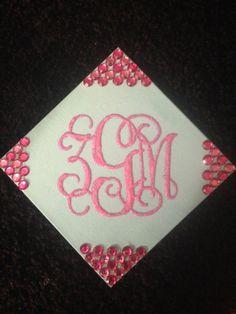 Glittered monogrammed canvas! Sorority crafts