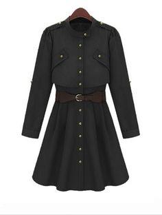 Black Long Sleeve Drawstring Waist Buttons Coat