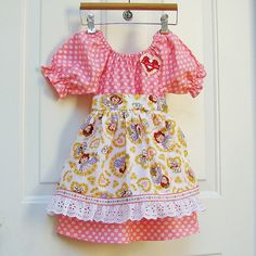 Girls Raggedy Ann Valentines Dress Detachable Apron  Spring Peasant Dress. $55.00, via Etsy.