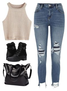 """""""Untitled #5282"""" by twerkinonmaz ❤ liked on Polyvore featuring River Island and Blondo"""