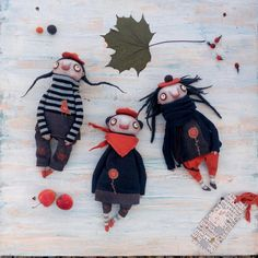 Купить Девчата пучеглазые в беретках - рыжий, синий, авторская кукла, пучеглазки, пучеглазка, изолон, Паперклей