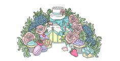 Wedding Cake - - copyright Kirsty Willette Illustration www.etsy.com/uk/shop/TeaForMeDesigns #cake #drawing #illustration #art #wedding #flowers #frenchfancies #cupcake #ribbon