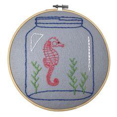 Seahorse embroidery hoop art