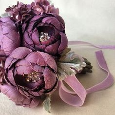 silk velvet leaves that are backed in silk dupioni used in this new mini toss bouquet! How To Make Paper Flowers, Giant Paper Flowers, Diy Flowers, Flower Decorations, Paper Bouquet, Bouquet Toss, Fabric Flower Brooch, Fabric Flowers, Ribbon Crafts